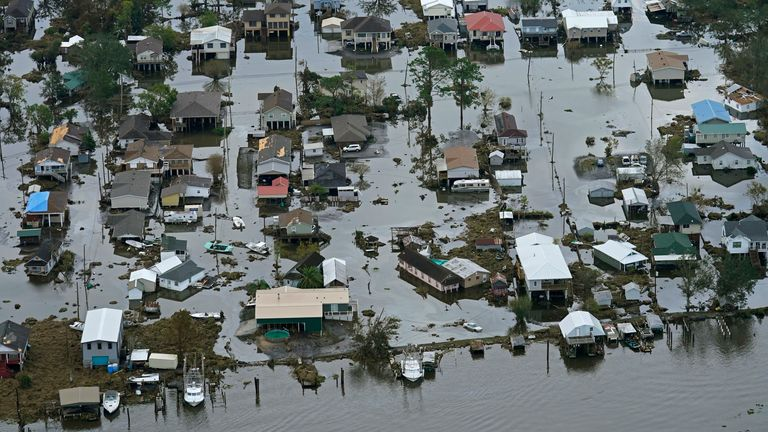 Floodwater slowly recedes in the aftermath of Hurricane Ida in Lafitte, La., Wednesday, Sept. 1, 2021.   PIC:AP