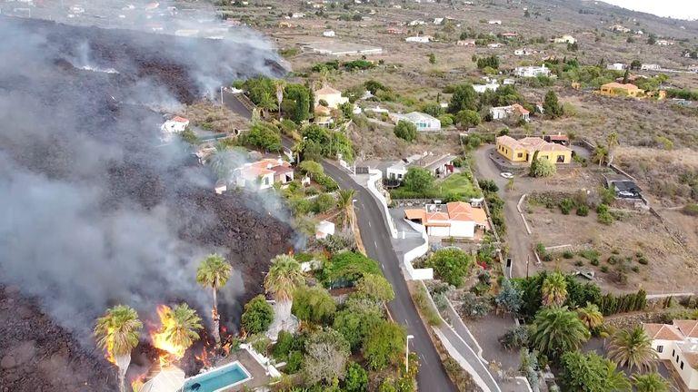 Une vue aérienne de la lave du volcan le 20 septembre 2021, à La Palma, Santa Cruz de Tenerife, Îles Canaries (Espagne).  Photo: AP