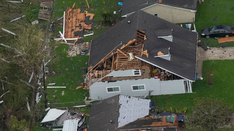 In the aftermath of Hurricane Ida shows damaged and destroys homes during an aerial tour Wednesday, Sept. 1, 2021,