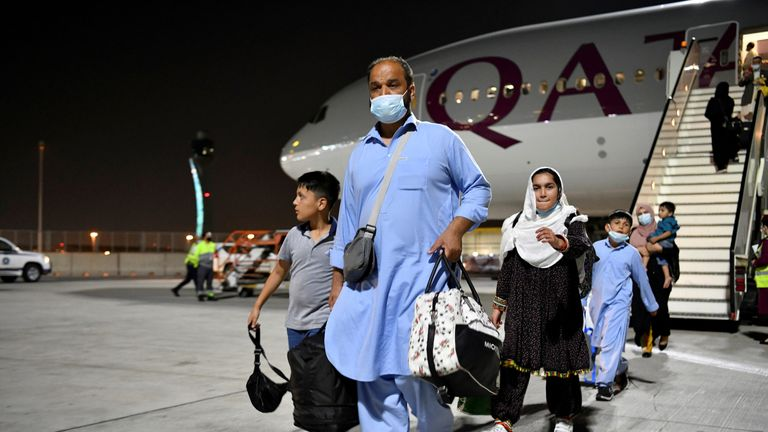 Many families were among those who arrived in Doha