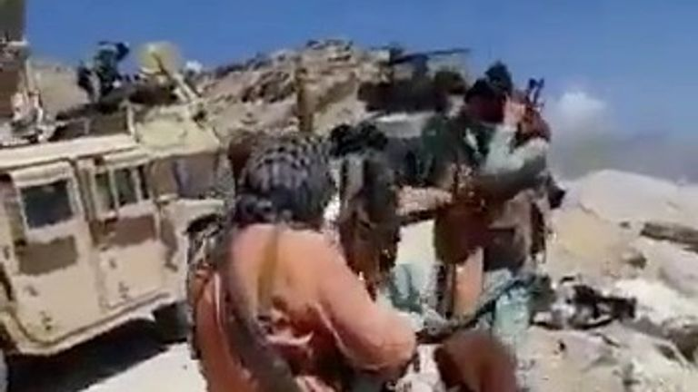 An undated video shows Taliban fighters near the southern entrance of Panjshir valley