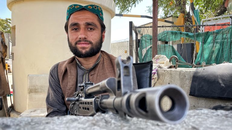 A Taliban militant guarding the British embassy