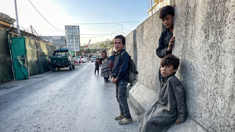 Street children at the Taliban checkpoint