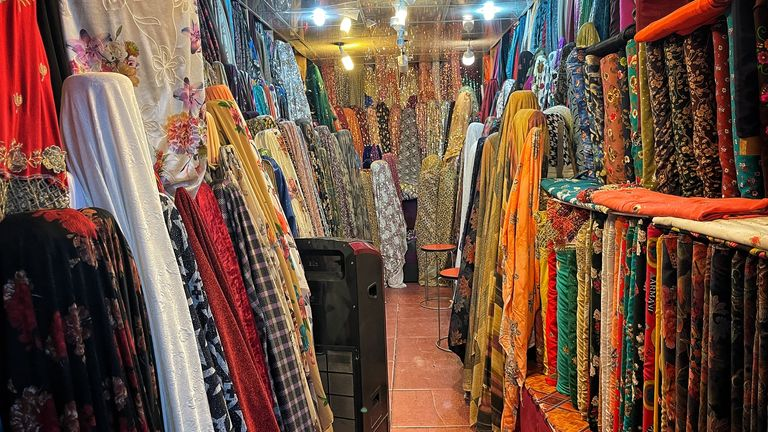 Colourful clothes are on sale at markets