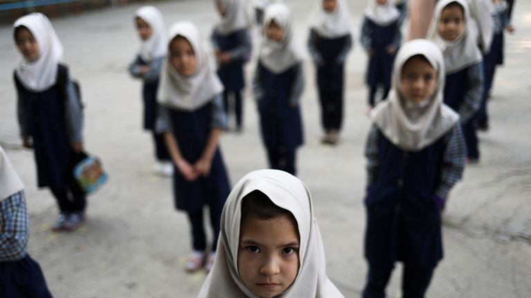 Afghan girls at a school in Kabul
