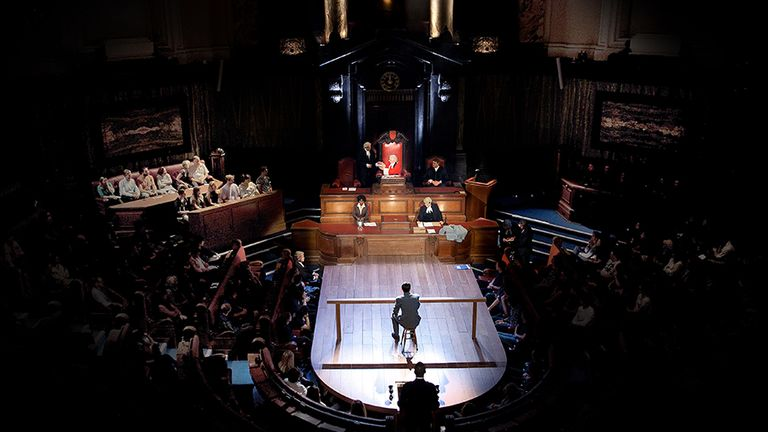 The show takes place in London County Hall - in a disused council chambers. Pic: Witness For The Prosecution