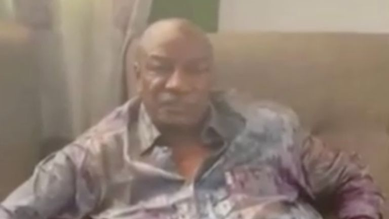 A video claimed to show Guinea's President Alpha Conde detained by army special forces, in Conakry, Guinea