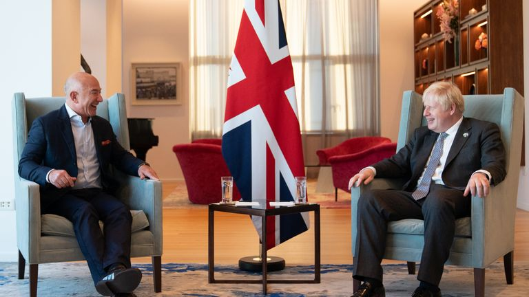 Prime Minister Boris Johnson meets with Amazon Executive chairman, Jeff Bezos during the United Nations General Assembly in New York. Picture date: Monday September 20, 2021. PA Wire/PA Images