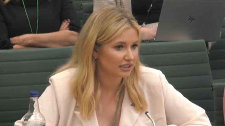 Love Island star Amy Hart gives evidence at an inquiry into influencing. Pic: Parliament Live TV