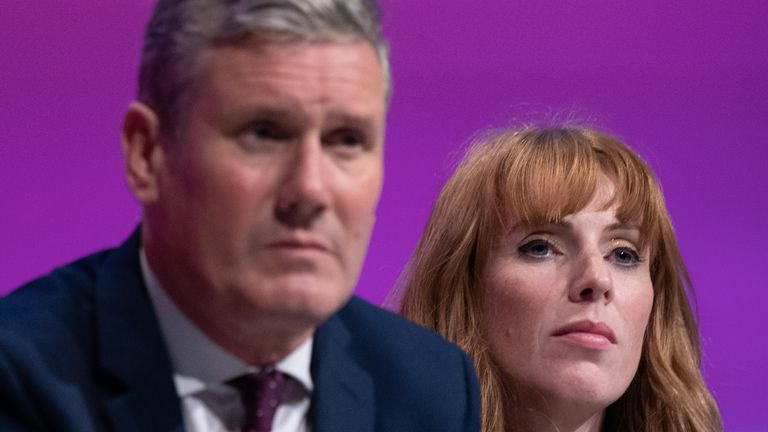 Labour leader Sir Keir Starmer pictured with his deputy Angela Rayner at the Labour conference on Sunday