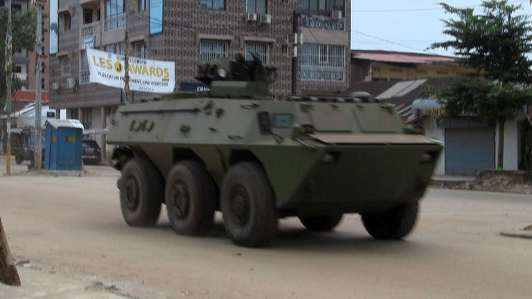 An army vehicle is seen in the Kaloum area of Conakry, Guinea
