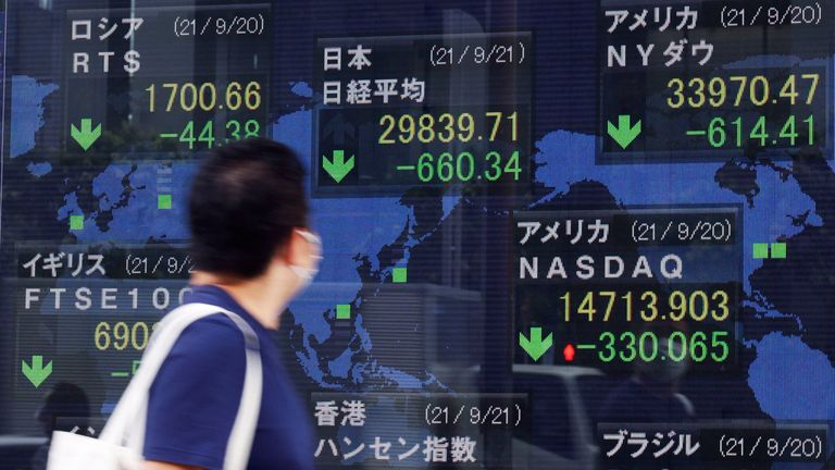 Global stock markets have taken big hits this week as investors react to the implications of the company's cash crunch. Pic: AP