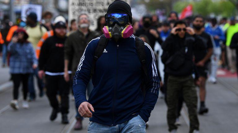 Anti-lockdown protesters in Melbourne
