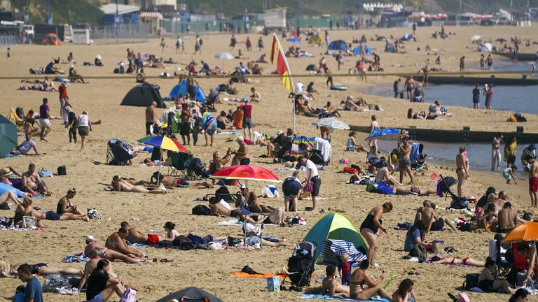 Autumn weather Sep 6th 2021 People enjoy the warm weather on Bournemouth Beach in Dorset