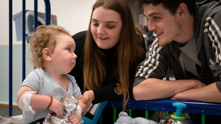 """Rosie-Mae Walton and Wes Powell with their son Marley as he recovers at Sheffield Children's Hospital having received the """"most expensive drug in the world"""", the genetic treatment Zolgensma. Picture date: Wednesday September 15, 2021."""