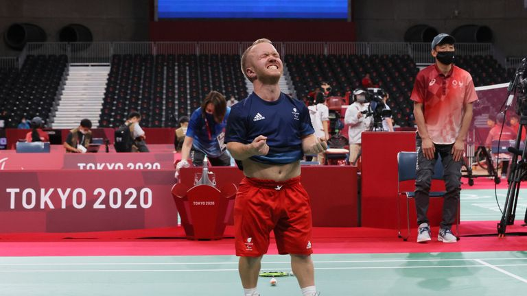 Great Britain's COOMBS Krysten reacts after winning Men's Singles SH6 Bronze Medal Match at Summer Paralympic Games in Tokyo on Sep. 5, 2021.( The Yomiuri Shimbun via AP Images )