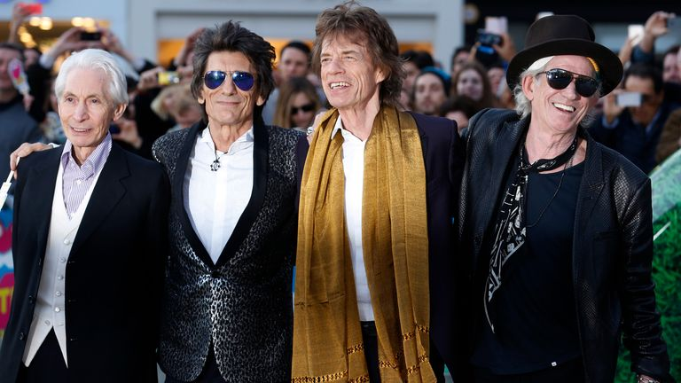 """Members of the Rolling Stones (L-R) Charlie Watts, Ronnie Wood, Mick Jagger and Keith Richards arrive for the """"Exhibitionism"""" opening night gala at the Saatchi Gallery in London, Britain April 4, 2016. REUTERS/Luke MacGrego"""