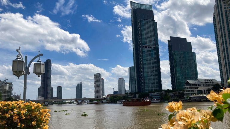 The skyline of Bangkok with the Chao Phraya River. The mega-metropolis was one of the most visited cities in the world before the Corona pandemic