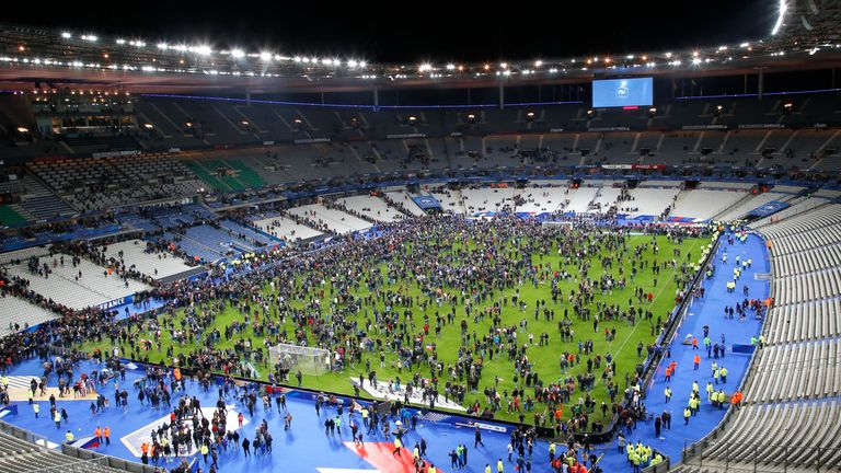 The first devices were detonated outside the Stade de France stadium - with spectators moving on to the pitch