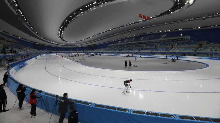 A skater taking part in a test event in Beijing