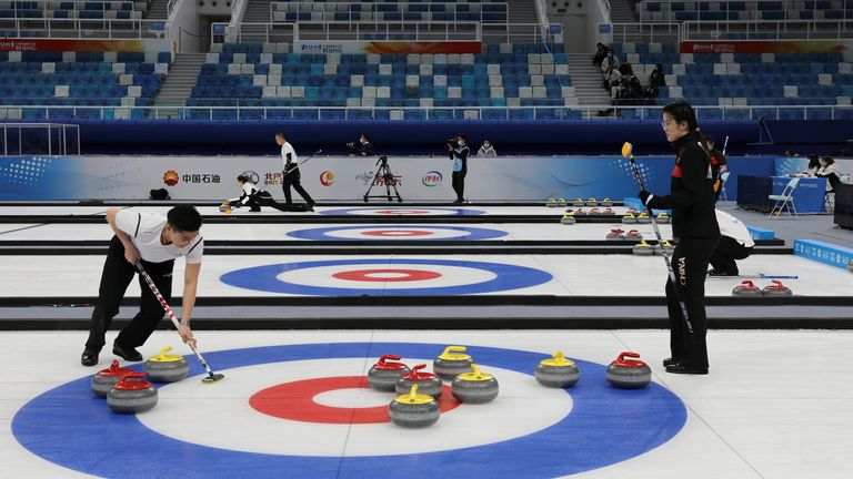 A curling competition held as a test event at the National Aquatics Centre