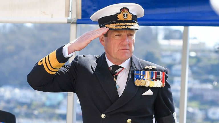 Sir Ben Key (right), in Dartmouth, during his visit in commemoration of the Duke of Edinburgh. Picture date: Thursday April 15, 2021. Read less