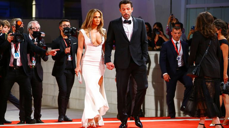 The couple were attending the premiere of The Last Duel, which Affleck stars in alongside Matt Damon and Jodie Comer Pic: AP