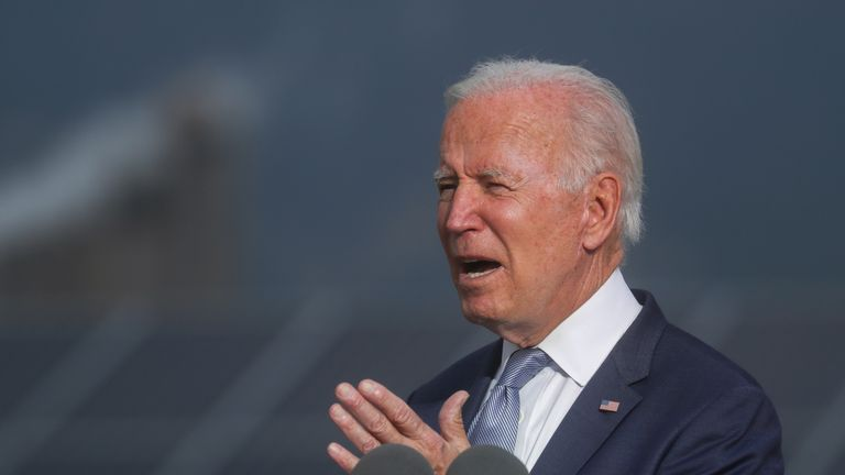 U.S. President Joe Biden makes remarks to promote his infrastructure spending proposals during a visit to the National Renewable Energy Laboratory (NREL), in Golden, Colorado