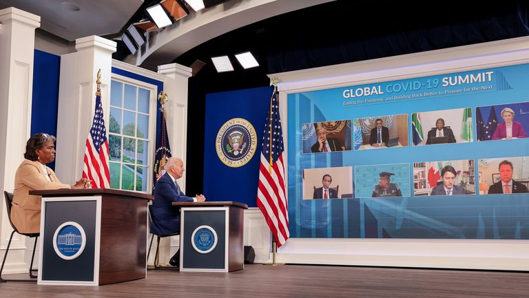 U.S. President Joe Biden and U.S. Ambassador to the United Nations Linda Thomas-Greenfield participate in a virtual coronavirus disease (COVID-19) Summit