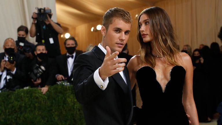 Metropolitan Museum of Art Costume Institute Gala - Met Gala - In America: A Lexicon of Fashion - Arrivals - New York City, U.S. - September 13, 2021. Justin Bieber and Hailey Bieber. REUTERS/Mario Anzuoni