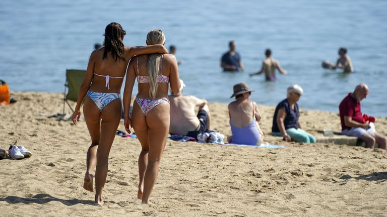 Autumn weather Sep 6th 2021 People enjoy the warm weather on Bournemouth Beach in Dorset.