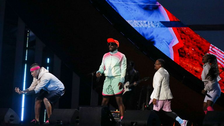 Taboo, will.i.am, apl.de.ap and new member J. Rey Soul at Global Citizen. Pic: AP