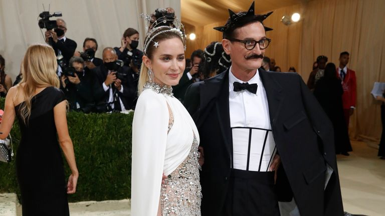 Metropolitan Museum of Art Costume Institute Gala - Met Gala - In America: A Lexicon of Fashion - Arrivals - New York City, U.S. - September 13, 2021. Emily Blunt and Hamish Bowles. REUTERS/Mario Anzuoni