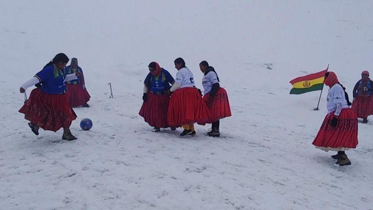 The Cholitas Climbers - a group of Bolivian Aymara women dedicated to climbing mountains - played a football match at 5,890 meters altitude on the Huayna Potosi mountain near La Paz