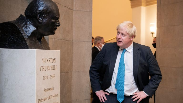 British Prime Minister Boris Johnsn admires a bust of Sir Winston Churchill  in the U.S. Capitol Pic: AP