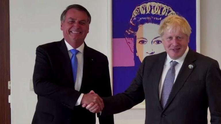 Jair Bolsonaro and Boris Johnson shook hands as they met in New York