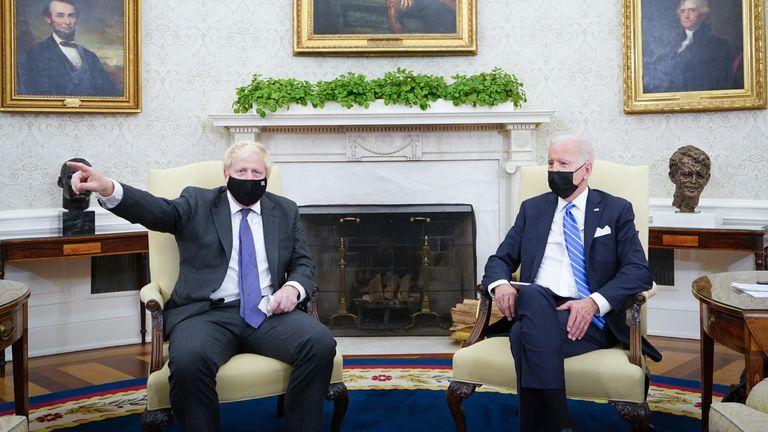 Prime Minister Boris Johnson meets US President Joe Biden in the Oval Office of the White House