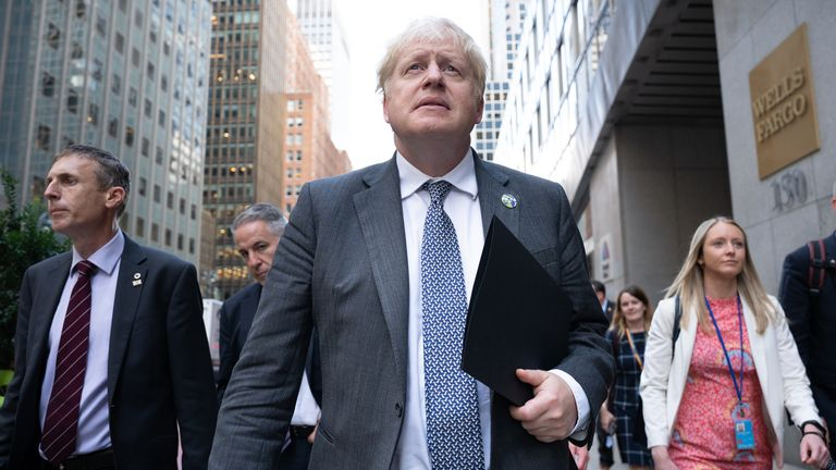 Prime Minister Boris Johnson walks to a television interview in New York whilst attending the United Nations General Assembly