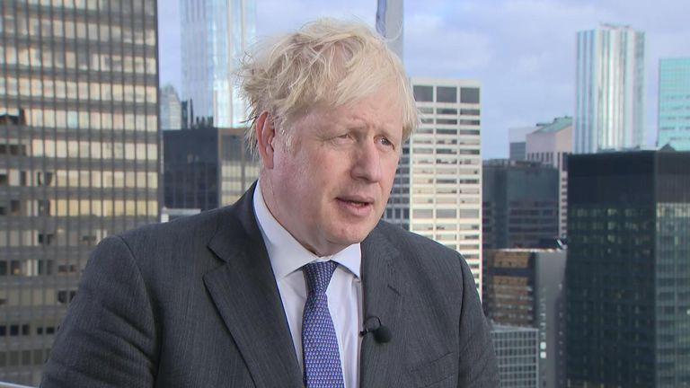 Boris Johnson talks to Beth Rigby in New York