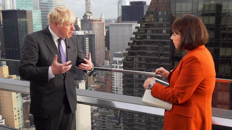 Prime Minister Boris Johnson speaking to Sky News' Beth Rigby