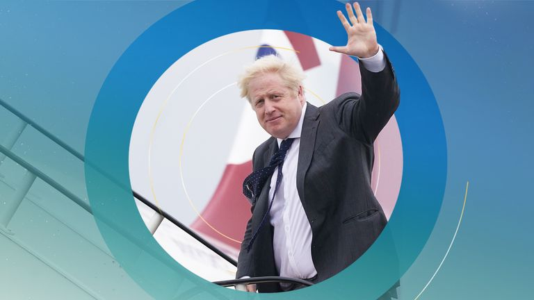 Prime Minister Boris Johnson boards RAF Voyager at Stansted Airport ahead of a meeting with US President Joe Biden in Washington