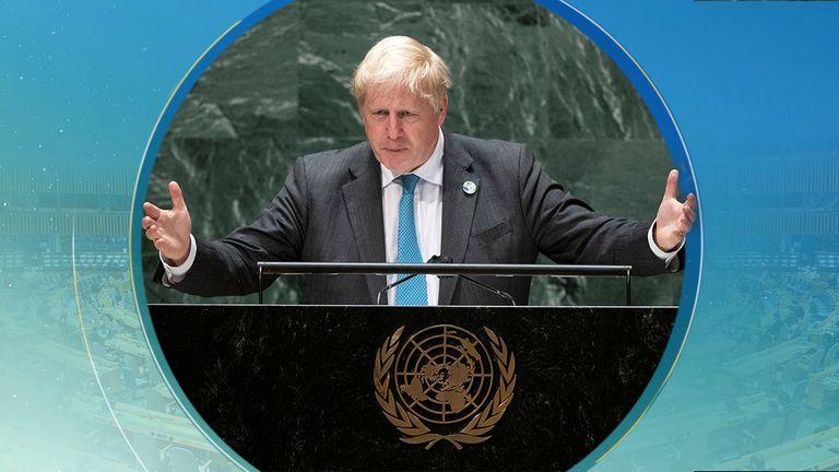 British Prime Minister Boris Johnson addresses the 76th Session of the U.N. General Assembly in New York City, U.S., September 22, 2021. REUTERS/Eduardo Munoz/Pool