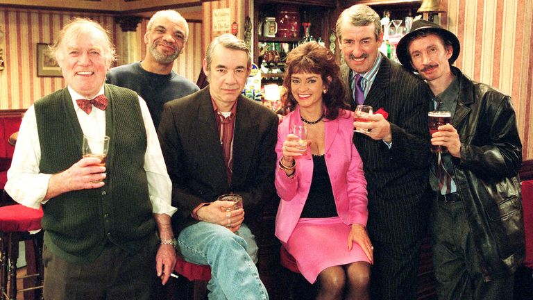 Only Fools stars (L-R) Roy Heather, Patrick Barber, Roger Lloyd Pack, Sue Holderness, John Challis and Patrick Murray in 2001