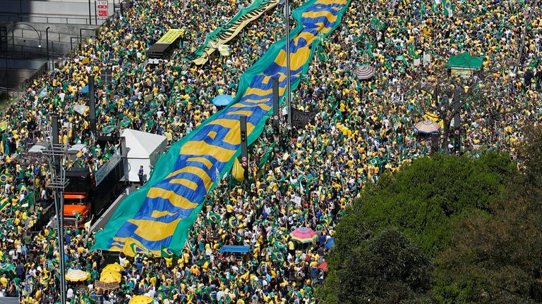 Thousands of Mr Bolsonaro's supporters gather to back the far-right leader in his dispute with the Supreme Court in Sao Paulo