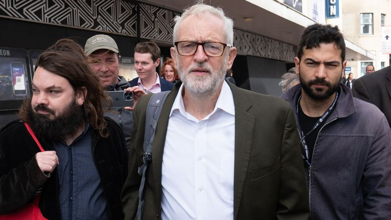 Former Labour leader Jeremy Corbyn attends the Labour Party conference in Brighton. Picture date: Tuesday September 28, 2021.