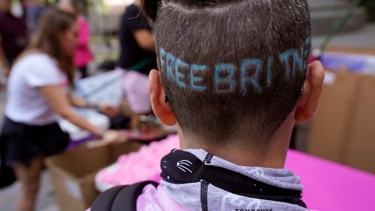 Britney Spears supporter Kim Van Doorn outside the Stanley Mosk Courthouse ahead of a conservatorship hearing on 29 September 2021. Pic: AP Photo/Chris Pizzello