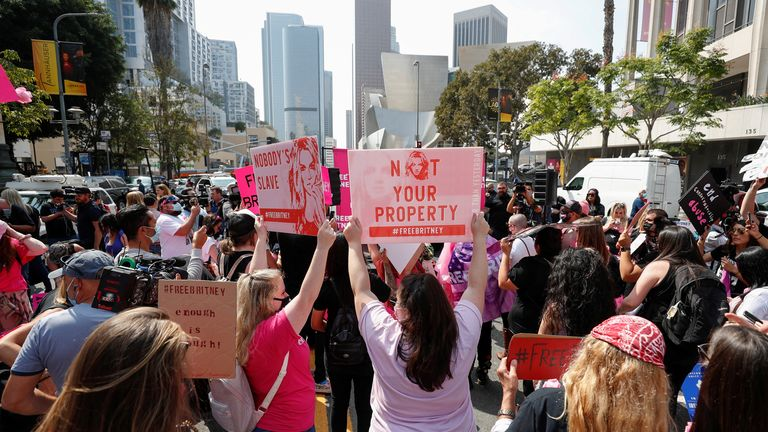 Britney Spears supporters protest outside a conservatorship case hearing at Stanley Mosk Courthouse in Los Angeles, California on 29 September 2021