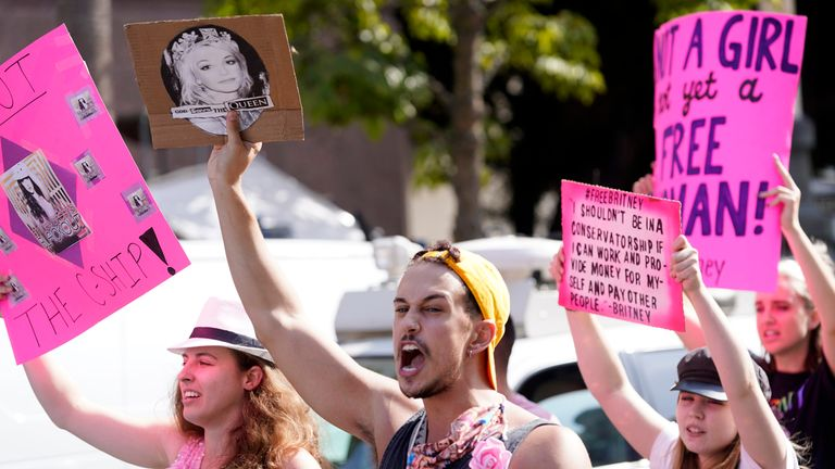 Jubilant Britney supporters outside the Los Angeles Superior Court Pic: AP