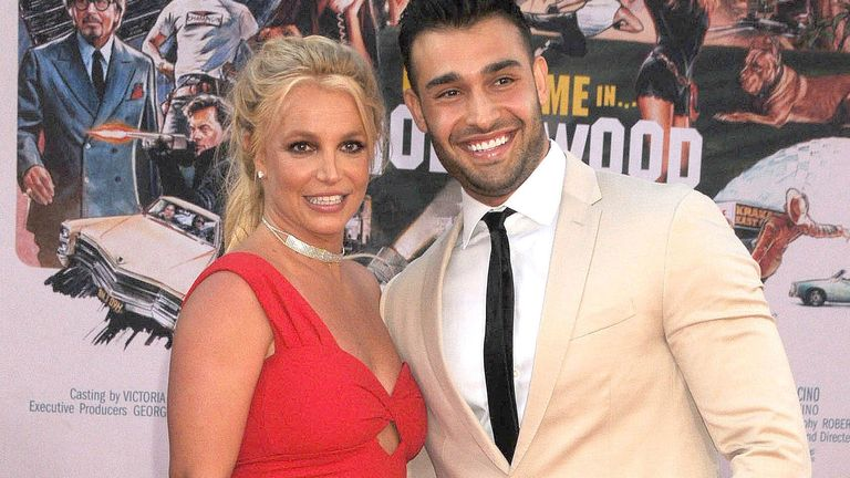 Britney Spears and Sam Asghari at the premiere of Once Upon A Time In Hollywood in Los Angeles in 2019. Pic: Galaxy/STAR MAX/IPx/AP
