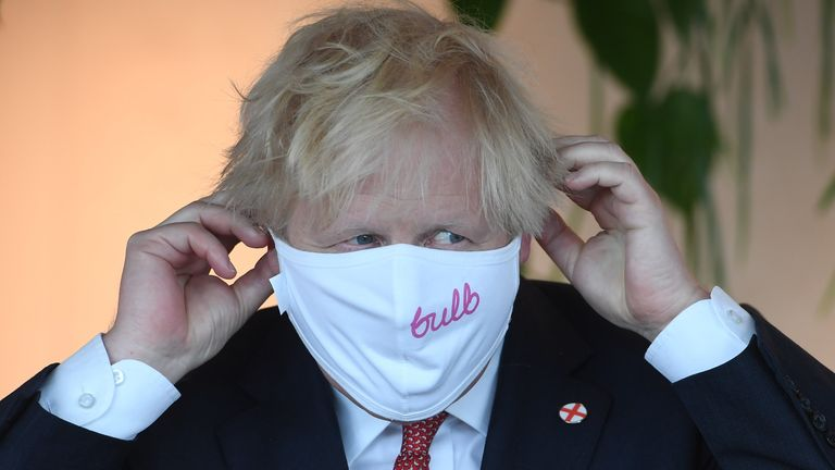 Boris Johnson during a visit to the offices of energy company Bulb in July
